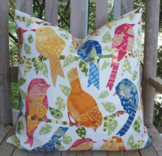 Decorative Outdoor Pillow Covers:  Birds of Summer Indoor Outdoor 18 X 18 inch Accent Toss Throw Pillow Cover