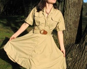 NOS Safari Sweetheart McNally Vintage Shirt Waist Dress