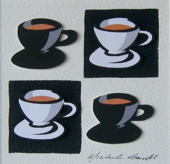 Black and White Coffee Cups - original 3D collage