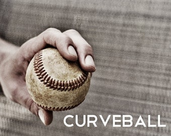 Curveballl Pitch Black & White Photo Baseball pitches Boys Art Series