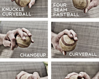 Set of 6 Black & White Photos Baseball pitches Boys Art Series