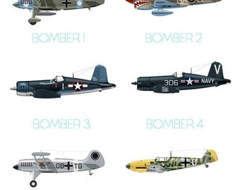 Set of 4 Airplane Boy's Nursery Playroom Wall Art