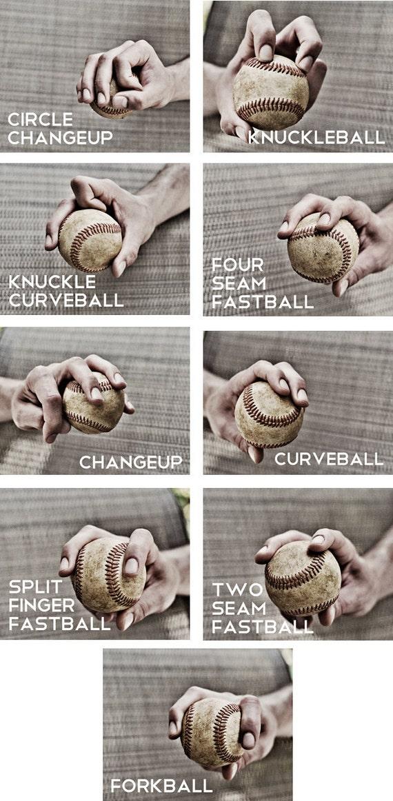 Set of 9 Black & White Photos Baseball pitches Boys Art Series