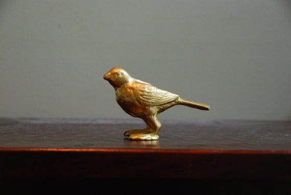 Vintage cast iron gold bird nursery decor