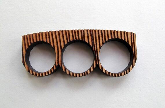 Engraved 3 finger Wood Knuckle Ring