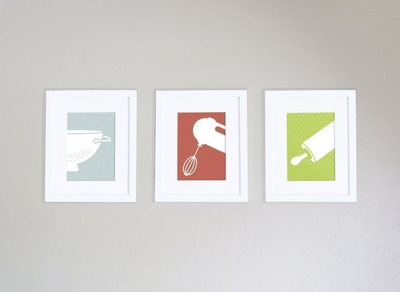 Modern Kitchen Art Prints - Set of 3