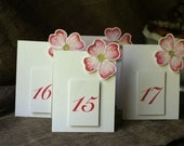 Dogwood Blossom Table Number Tents - for Events, Weddings, Parties, Showers, Graduations.