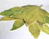 Green Elm Leaves - Hand cut prints of original watercolor leaves-  Wedding - Event decoration