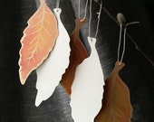 Fall Elm Leaf Tags - Hand cut prints of original watercolor leaves-wedding events and wishing trees