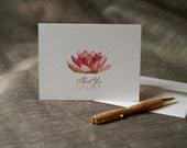 Pink Water Lily  Flower Thank You Notes