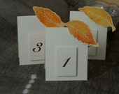 Table Numbers - Autumn Leaves - Fall Table cards - Weddings - Holidays - Celebrations - Seating