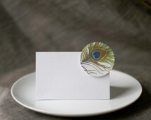 Peacock Place Card Tents - Place cards - escort cards - tags - Buffet Table- cards