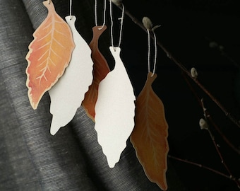 Fall Elm Leaf Tags - Hand cut prints of original watercolor leaves