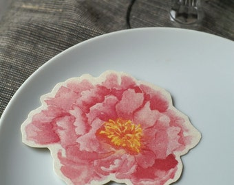 Pink Peony Flower Prints - Decorations for weddings and events. Place cards, wishing tree, guest book