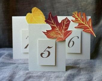 Autumn Table Numbers - Autumn Leaves - Fall Wedding - Weddings - Holidays - Celebrations - Seating