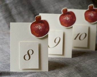 Pomegranate  Table Numbers - Table numbers for weddings, events and parties