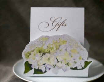 White Hydrangea Gifts Sign -  Decoration for Events, Weddings, Showers, Parties