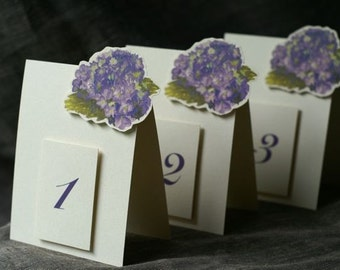 Purple Hydrangea Table Number Tents - Purple flower table numbers Decoration for Events, Weddings, Showers, Parties