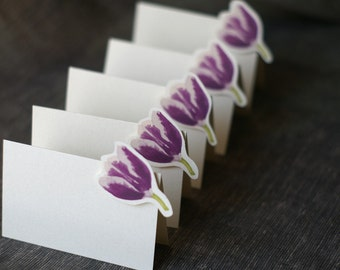 Dark Purple Tulip - Place Card - Gift Card - Table Number Card - Menu Card -weddings events