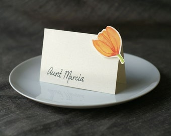 Orange Tulip - Place Card - Gift Card - Table Number Card - Menu Card -weddings events
