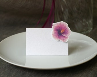 Purple Hibiscus - Place Card - Escort Card- Gift Card - Table Number Card - Menu Card -weddings events