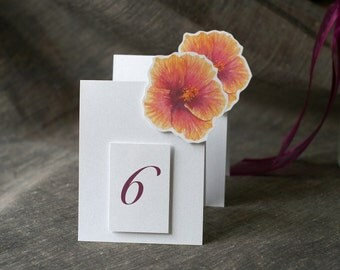 Orange Hibiscus Table Number Tents  - Decoration for Events, Weddings, Showers, Parties