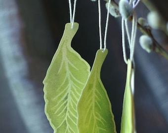 Elm Leaf Tags - Hand cut prints of original watercolor leaves