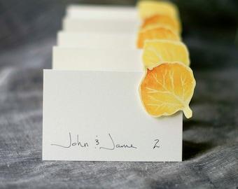 Aspen Leaves  Escort Cards - Aspen Place Cards - Fall Wedding - Aspen Wedding Paper goods