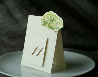 Table Number Tents- Green Hydrangea - Decoration for Events, Weddings, Showers, Parties