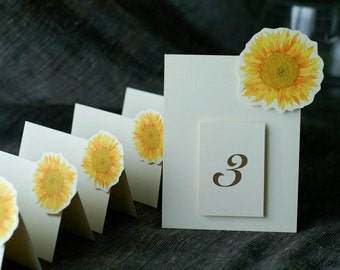 Table Number Tents - Sunflowers Yellow Centered   - for Events, Weddings, Parties, Showers, Graduations.