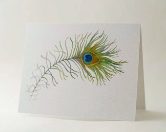Peacock Feather Note Card Set-