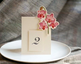 Dendrobium Orchid  Table Number Tents - for Events, Weddings, Parties, Showers, Graduations.
