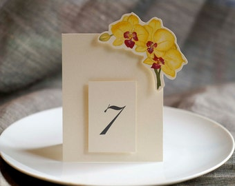 Yellow Orchid  Table Number Tents - for Events, Weddings, Parties, Showers, Graduations.