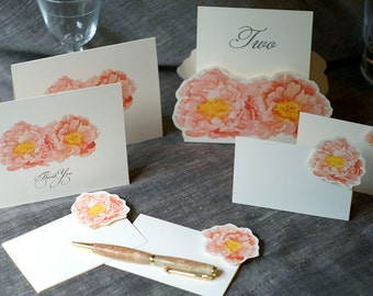 Table Number Tents- Coral pink Peony - Decoration for Events, Weddings, Showers, Parties
