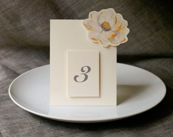 Table Number Tents-Ivory Blossom - Decoration for Events, Weddings, Showers, Parties - Table Seating