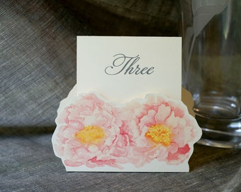 Peony Table Number Tents- Blush Pink Peony - Decoration for Events, Weddings, Showers, Parties