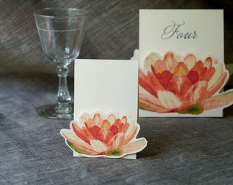 Place cards, Escort Cards - Coral Lily - Small Tents- Events, Weddings, Showers, Parties, decoration. Place cards, Signs.