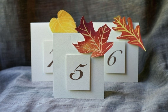 Table Numbers - Autumn Leaves - Weddings - Holidays - Celebrations - Seating