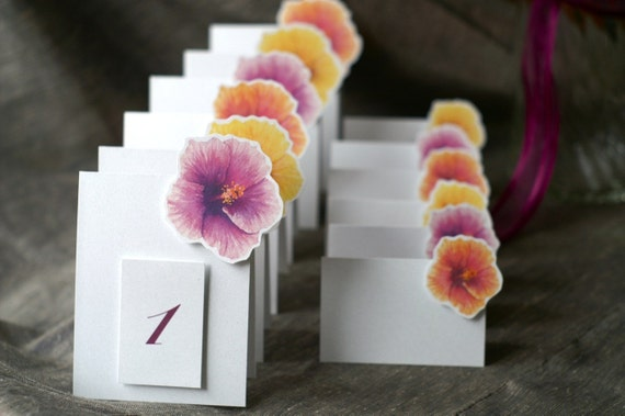 Hibiscus Table Number Tents in a mix of colors - Decoration for Events, Weddings, Showers, Parties