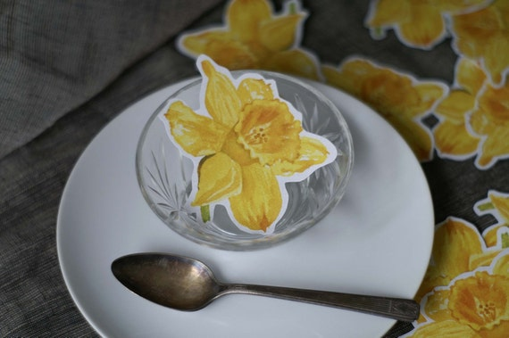 Yellow Daffodil Flower Prints - Decorations for weddings and events. Place cards, wishing tree, guest book
