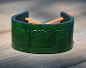 Celtic Emerald Leather Wrist Band SALE