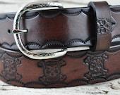 Leather Belt Skull and Bones