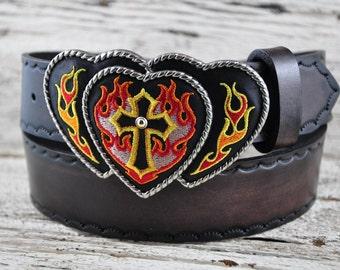 Leather Flaming Cross Belt