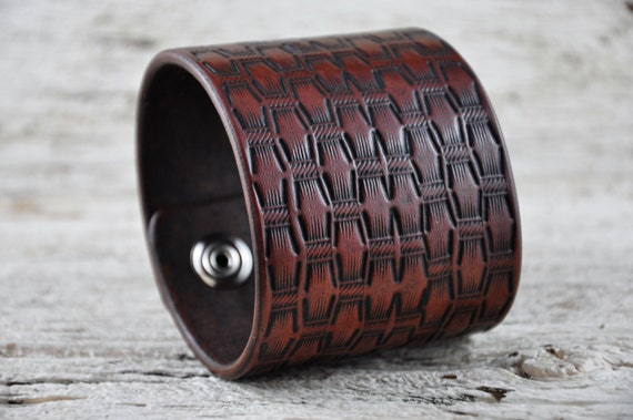 Leather Wrist Band Ancient Weave SALE