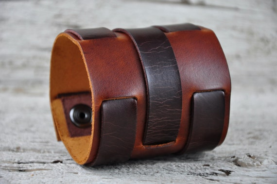 Vintage Braid Brown Leather Cuff