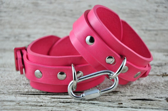 Pretty in Pink Leather Bondage Cuffs