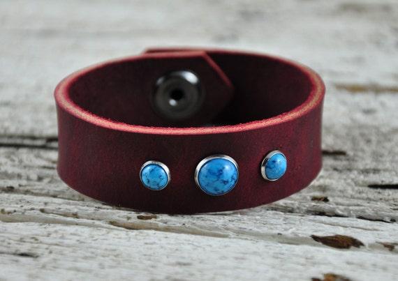 Misty Turquoise Leather Bracelet