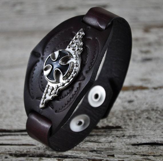 Iron Cross Leather Pendant Bracelet