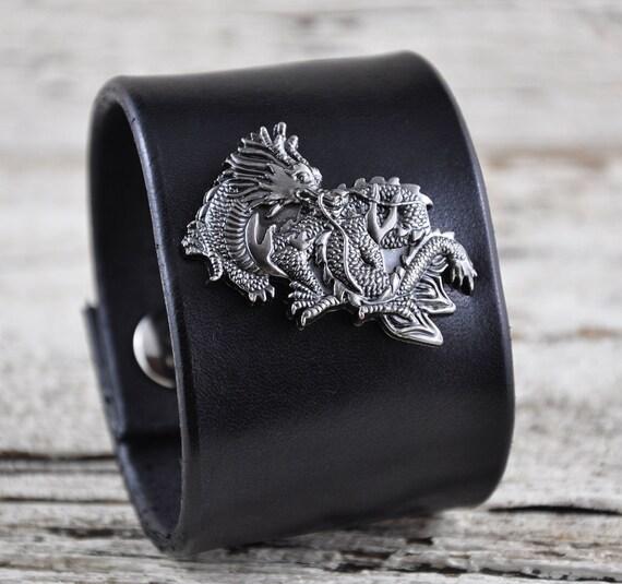 Mystic Dragon Black Leather Wrist Band SALE