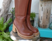 Vintage Frye Campus Boots in Chestnut Brown size 8.5M, FREE SHIPPING
